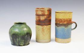A Robin Welch (British, 1936-2019) studio pottery stoneware cylinder vase, mid 20th century,