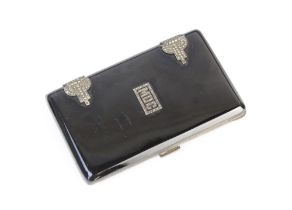 An Art Deco silver cigarette case, import marks for Cohen & Charles, London 1928, of rectangular