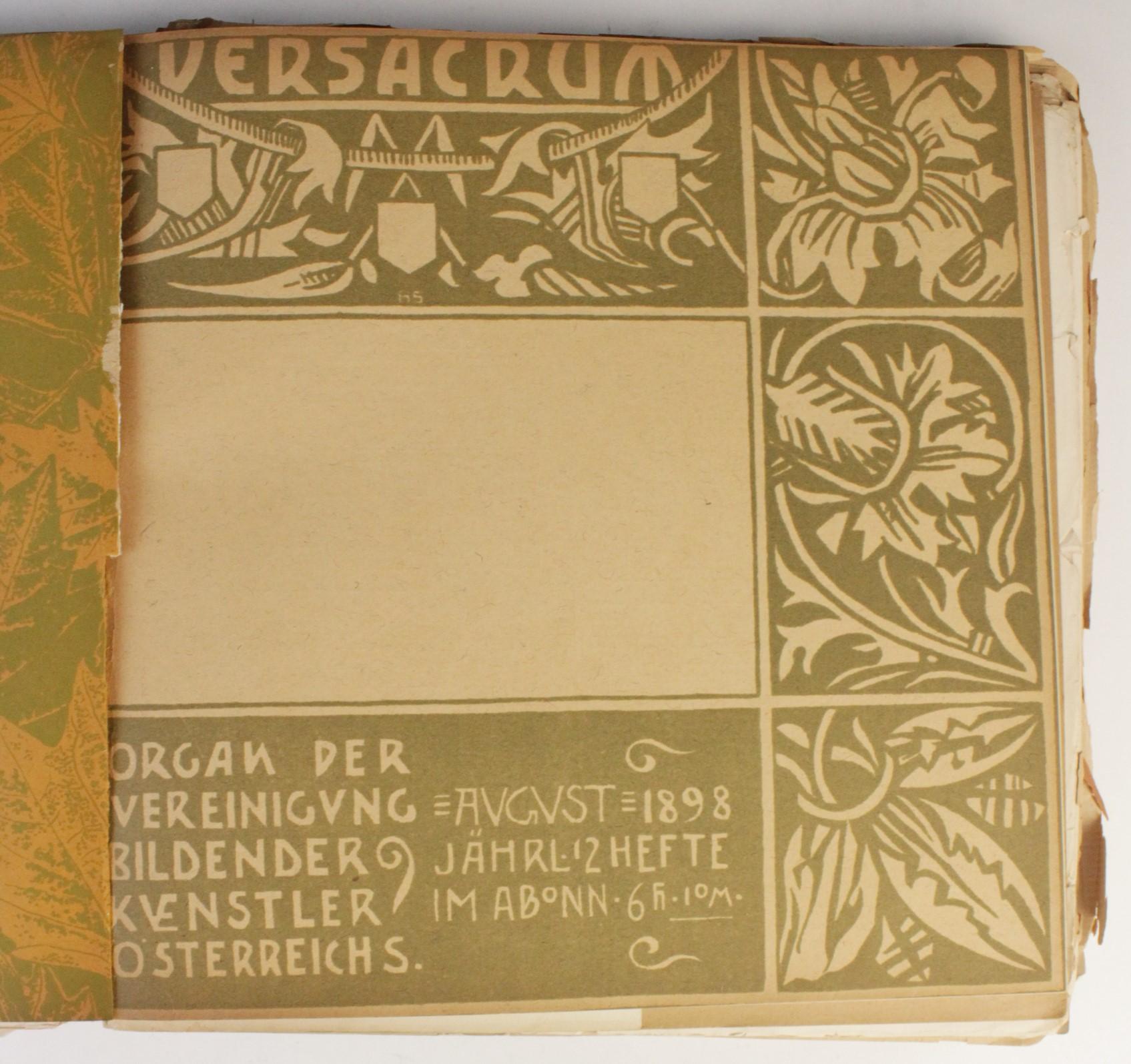 VER SACRUM, ORGAN DER JEREINIGUNG BILDENDER KUENSTLER OSTERREICHS [ORGAN OF THE PURIFICATION OF - Image 9 of 16