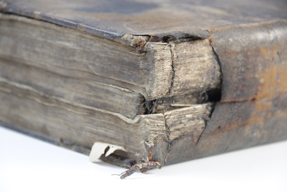 A 'breeches' Bible, early 17th century, full leather, the Old Testament lacking title page, the - Image 7 of 7