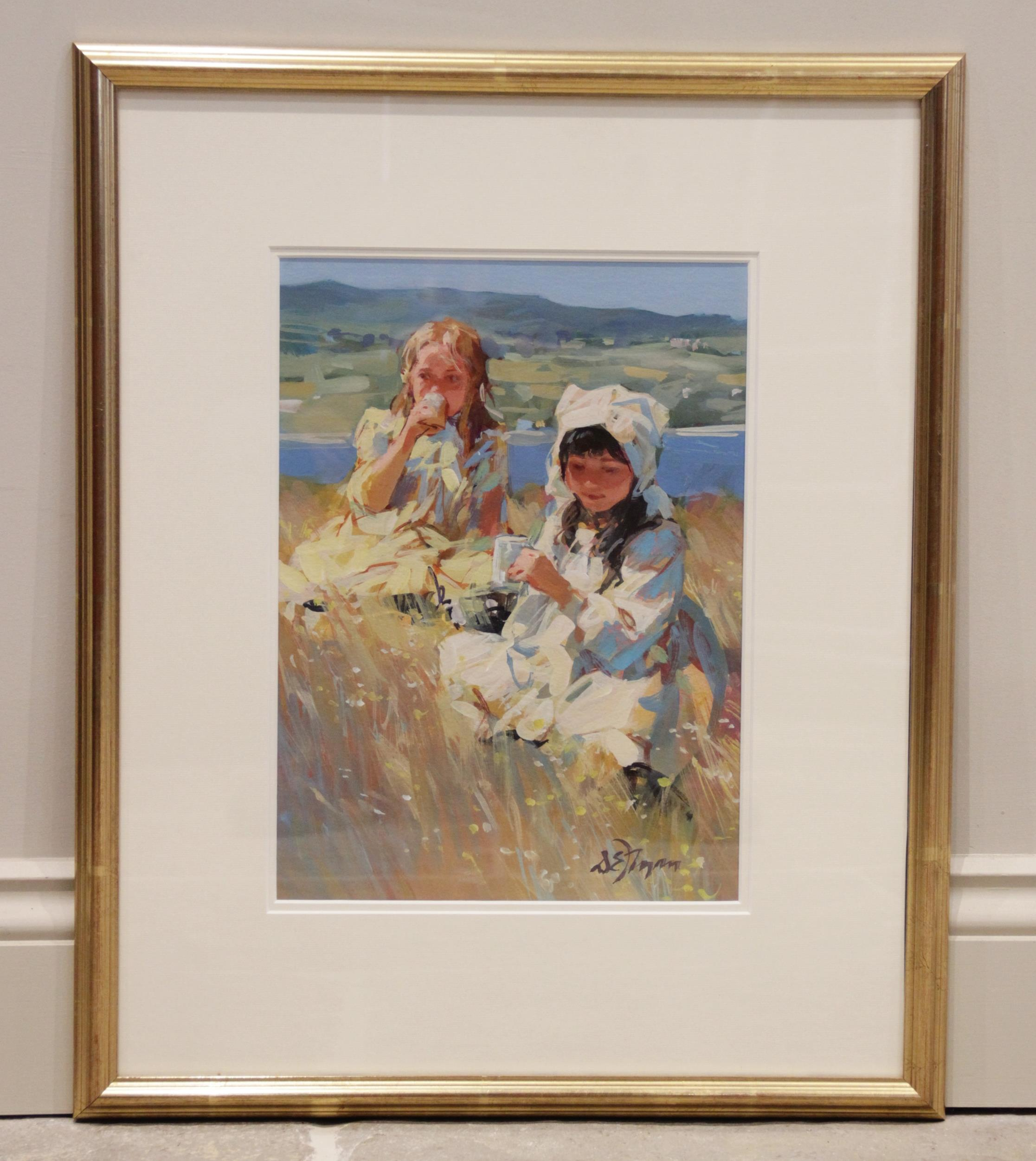 Dianne E. Flynn (British, b.1939), A two girls on a hilltop, Gouache on paper, Signed lower right, - Image 2 of 4