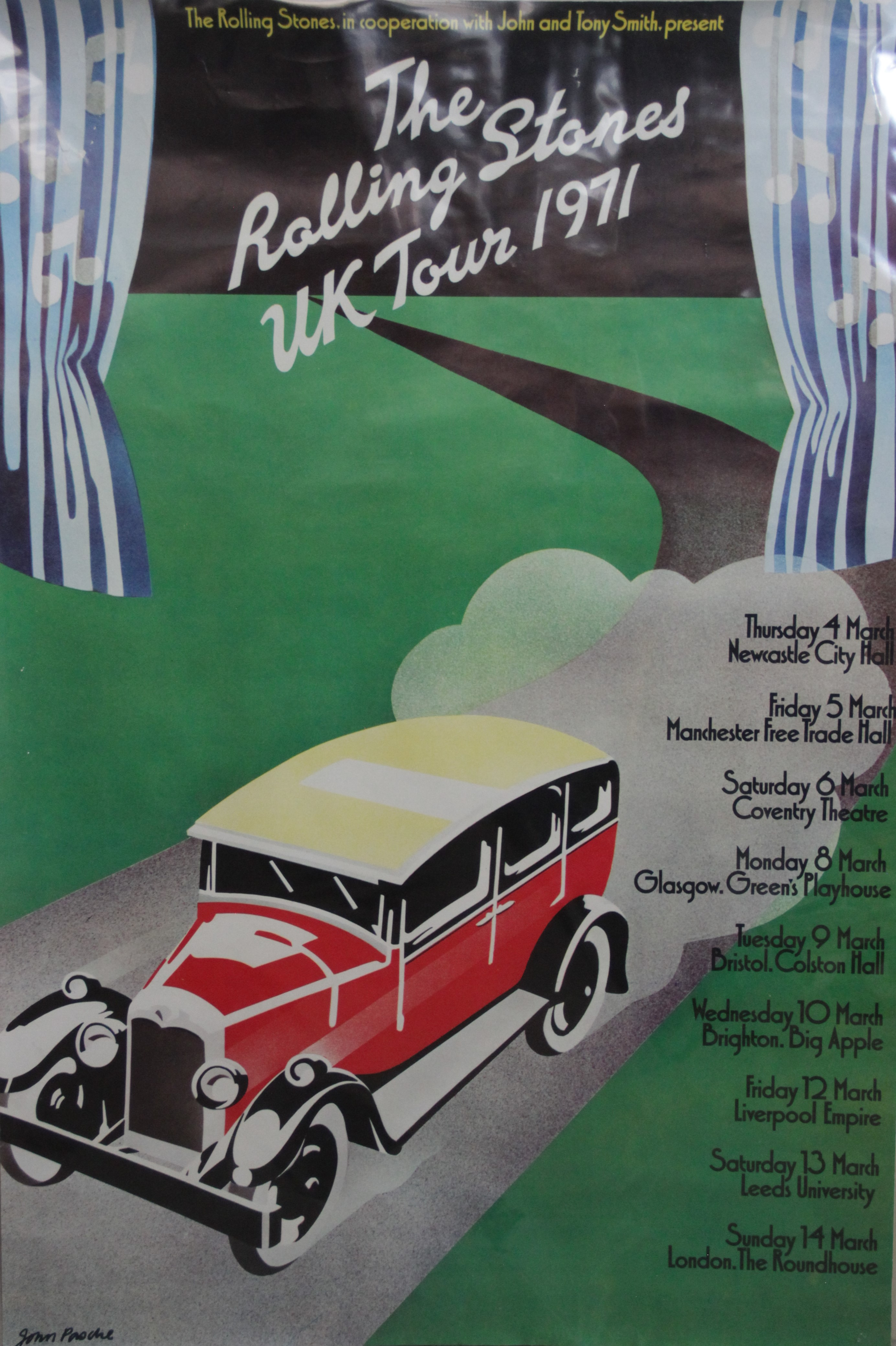 A ROLLING STONES 1971 tour poster designed by John Pasche, rolled as issued, previously secured by a