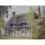 Alice Barnwell (British school, 20th century), Study of a thatched cottage, Watercolour on paper,
