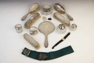 A selection of tableware and accessories, to include a George V silver mounted jewellery casket by