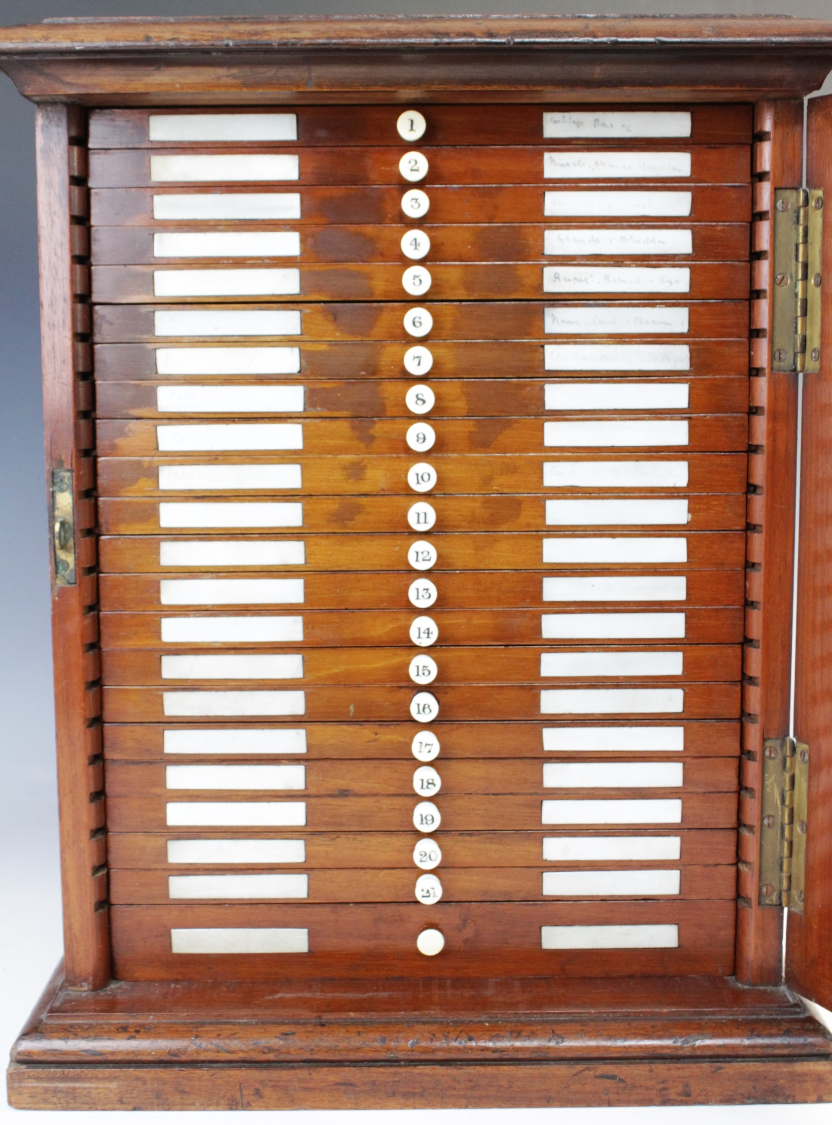 A Victorian mahogany specimen cabinet, the rectangular moulded top inset with a brass swing - Image 2 of 24
