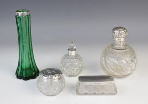 An Edwardian green cut glass silver mounted posy vase by Searle Co, London 1904, of tapering