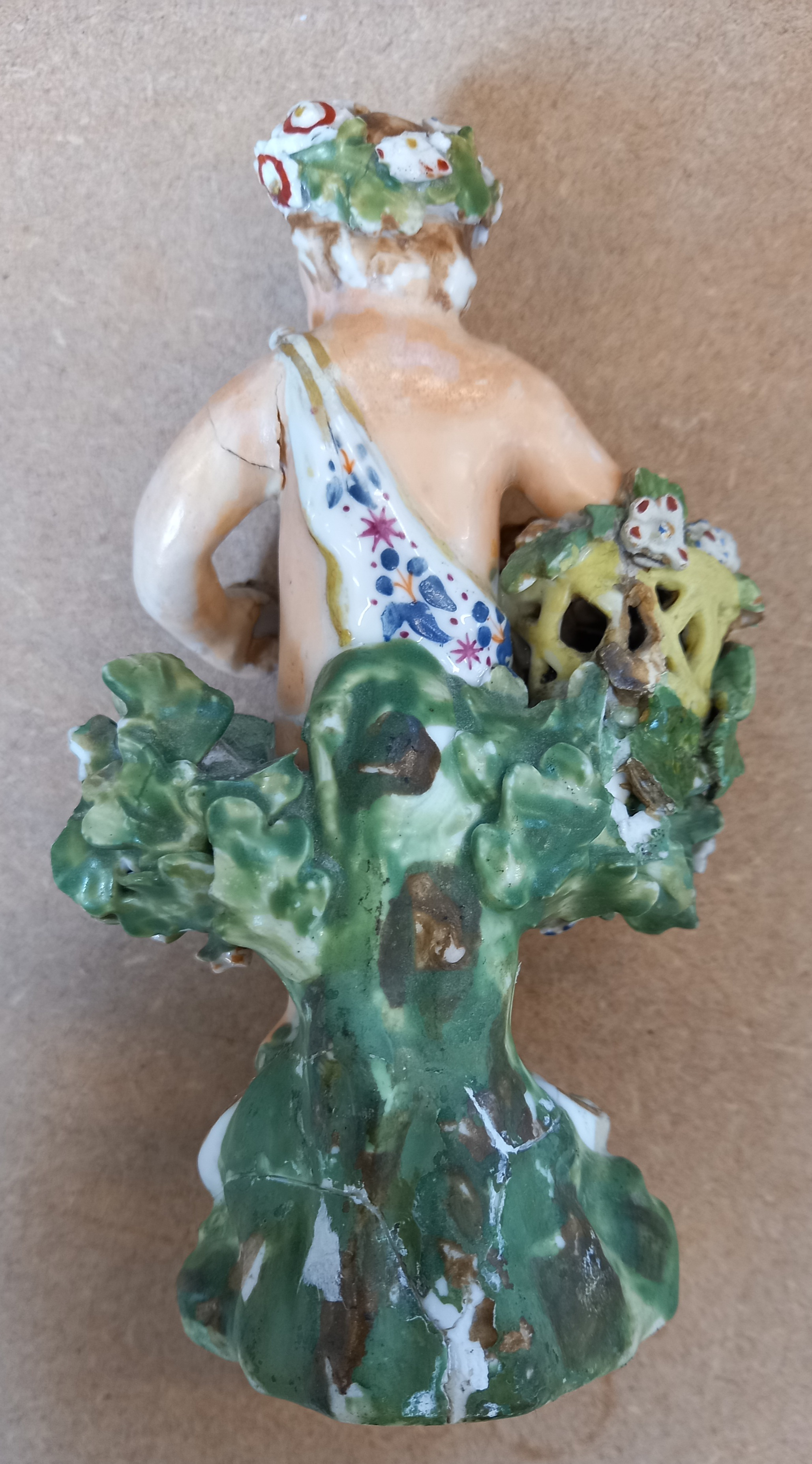 Three Derby bocage figures, late 18th century, each modelled as a putti holding a flower basket on a - Image 12 of 13