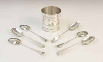 A set of six George III picture back spoons, possibly by George Smith (II), London 1788, each with