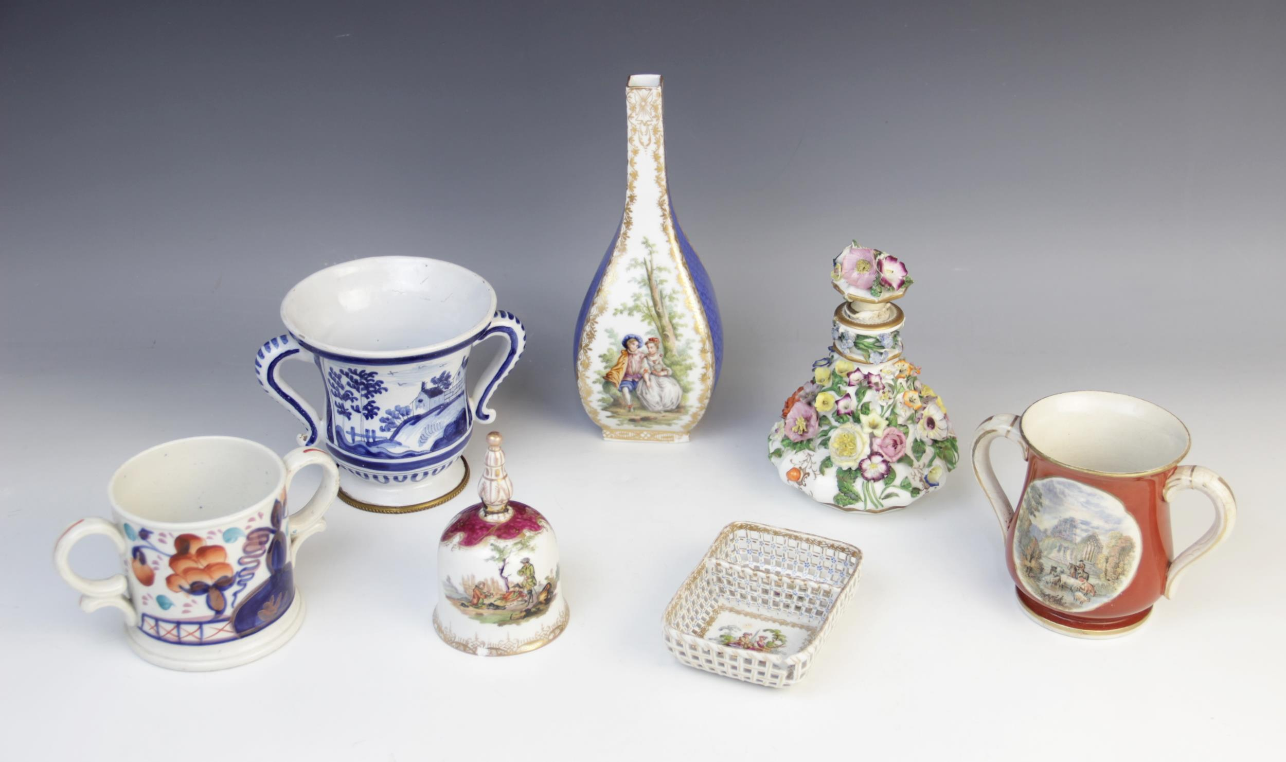 A selection of British and Continental porcelain, to include a German porcelain bottle vase with