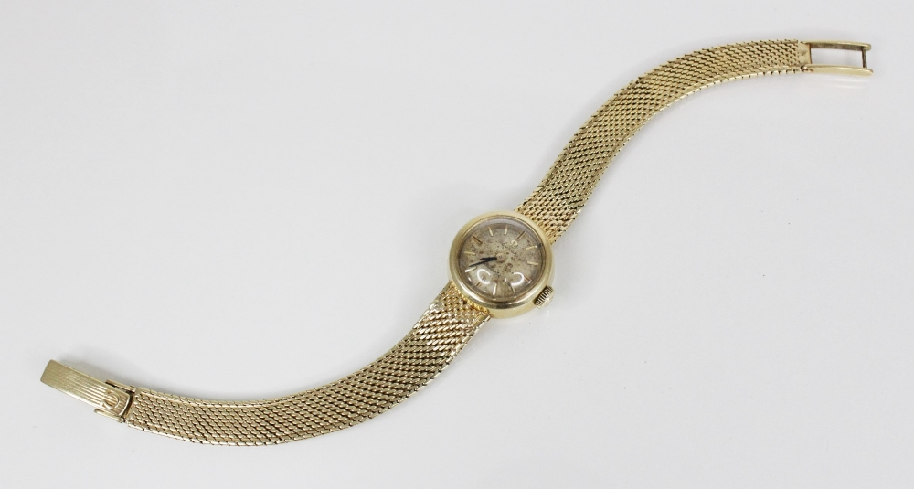 A lady's 14ct gold Omega Ladymatic wristwatch, the circular champagne dial with gold-toned baton - Image 2 of 2