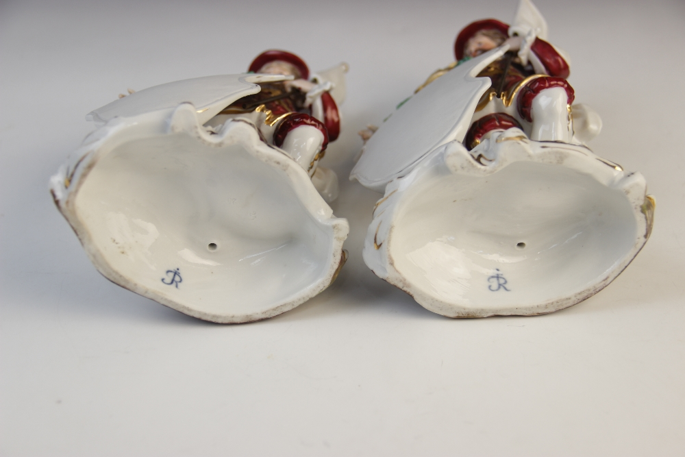 A pair of Dresden porcelain menu plaques, early 20th century, each modelled as a Beefeater - Image 2 of 2