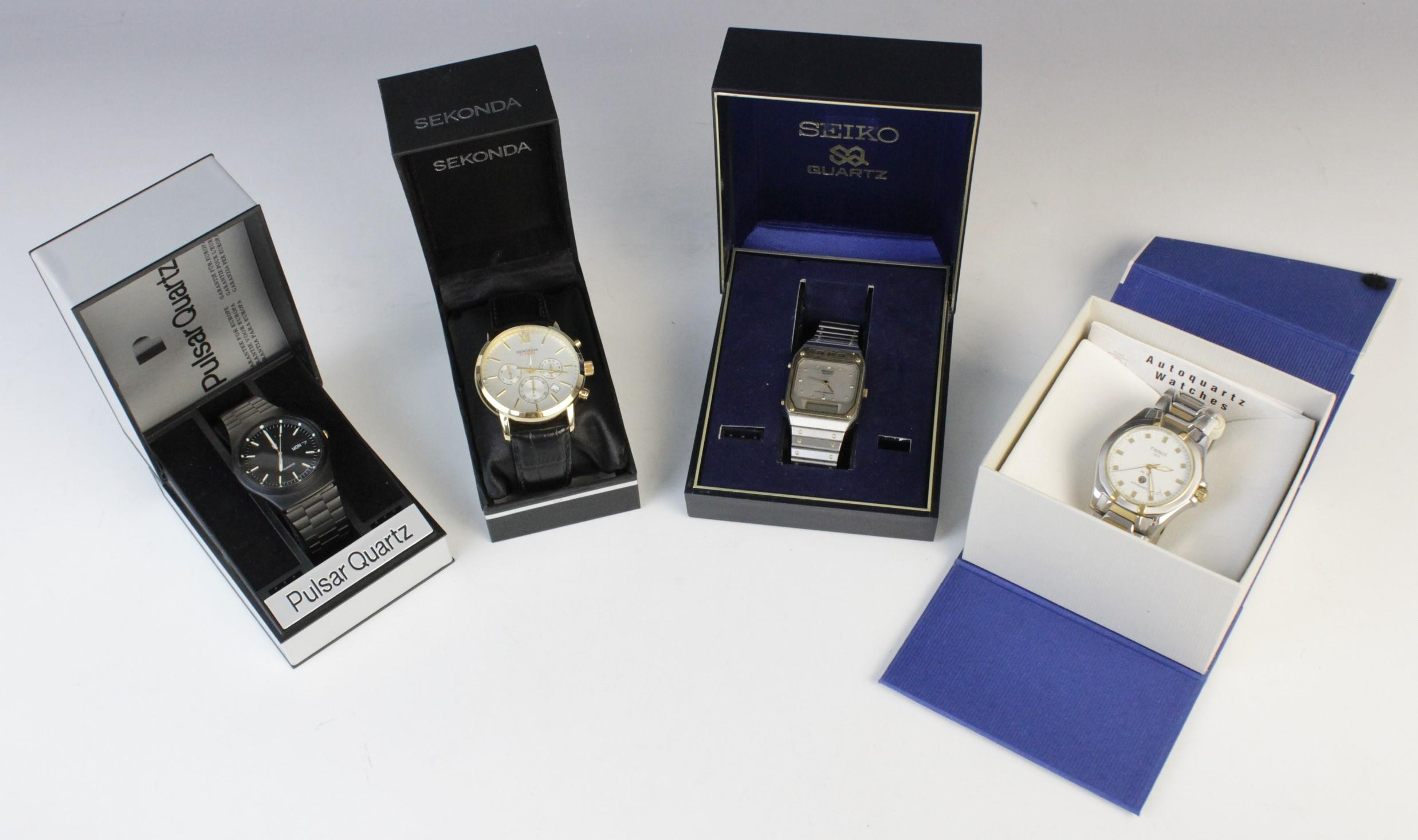 A large collection of vintage and modern dress watches, including a Longines Quartz T1 Timer, a - Image 6 of 11