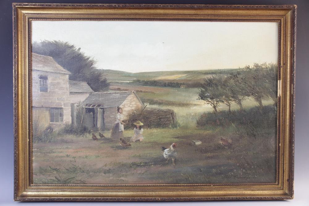 Paul Richardson (British, 20th century), A farmyard scene with figures and chickens, Oil on - Image 2 of 3