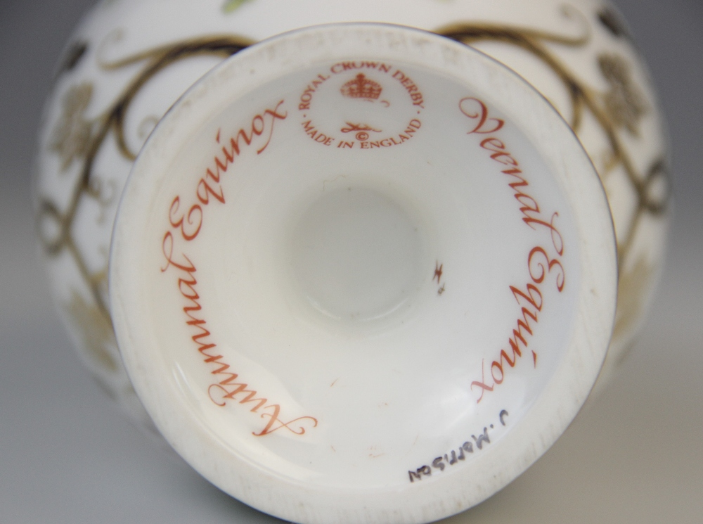 A Royal Crown Derby porcelain twin-handled vase and cover, 20th century, of inverted baluster form - Image 4 of 4