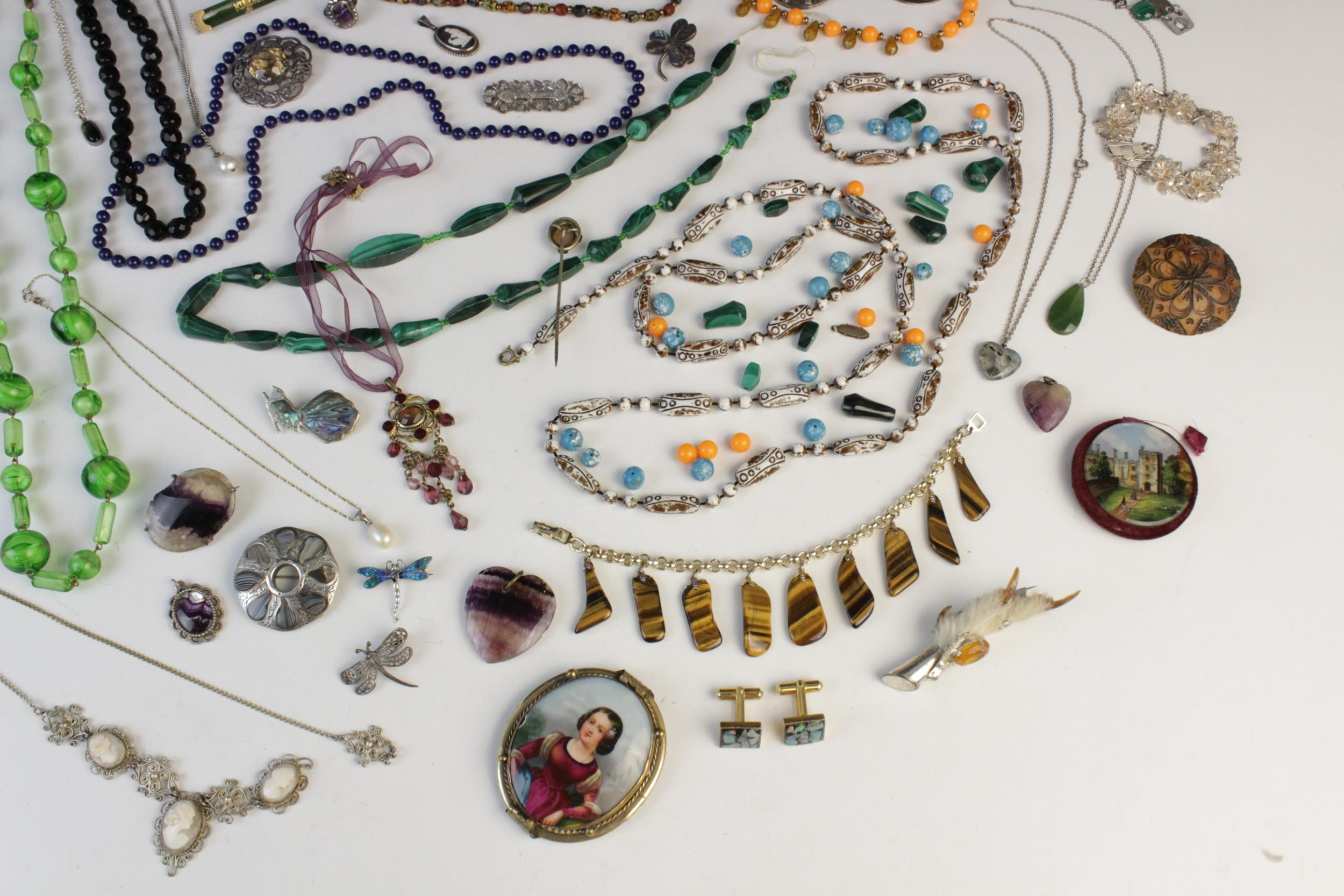 A selection of antique, vintage and costume jewellery, to include; a silver smokey quartz set Celtic - Image 4 of 4