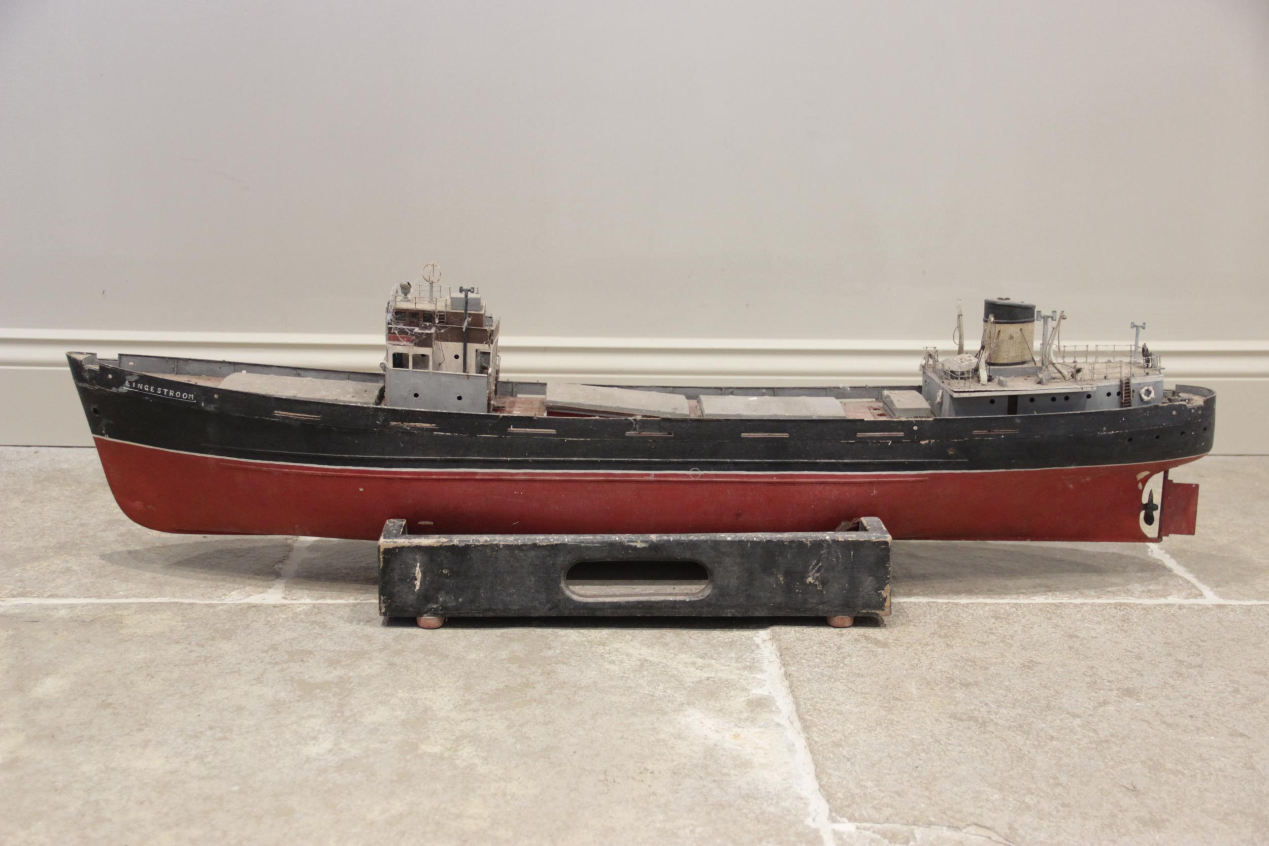 A mid 20th century scratch built model of the cargo ship 'Lingestroom', a scale recreation of an