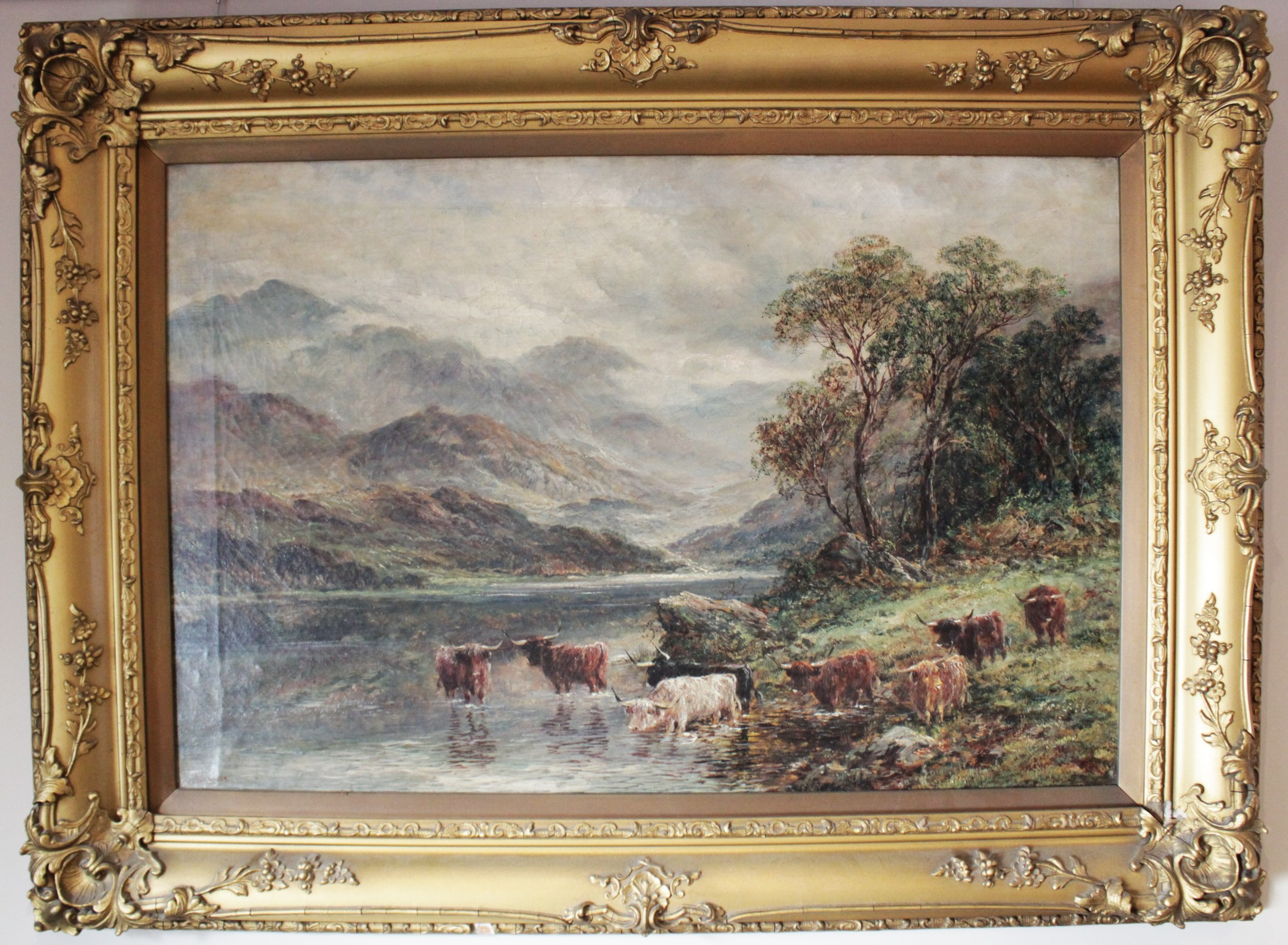 J. Lewis (English school, 19th century), Two mountainous landscapes with highland cattle, Oil on - Image 3 of 4