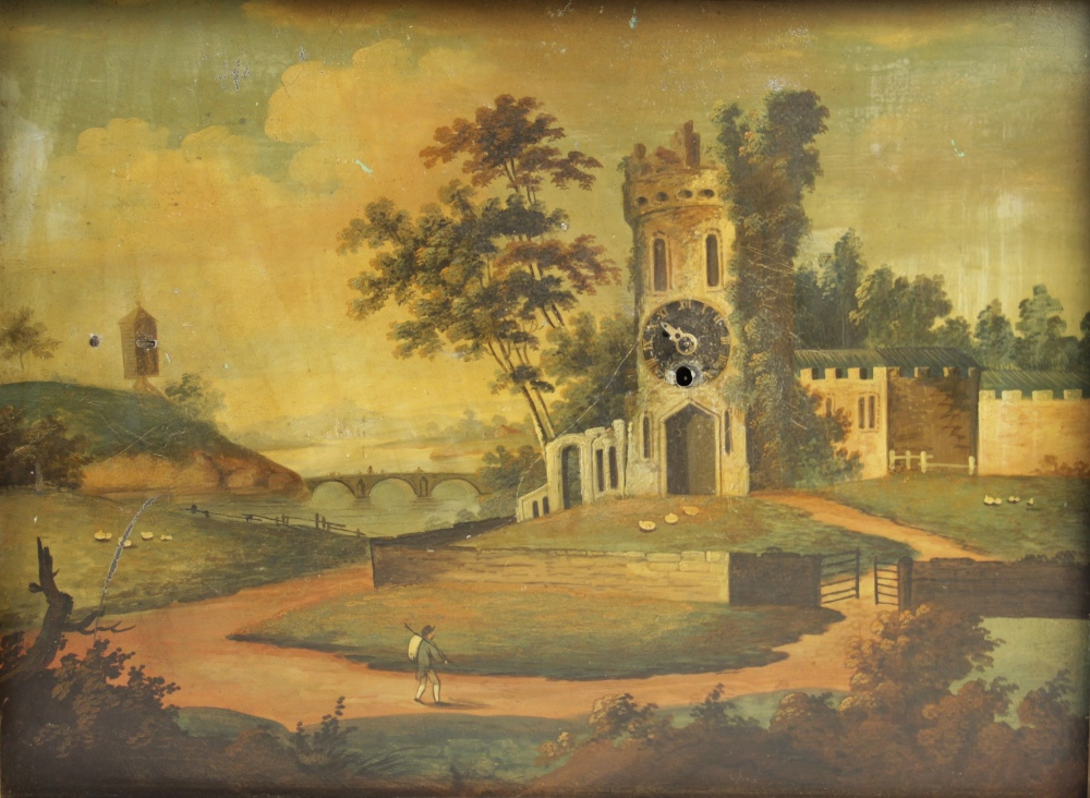 A 19th century continental clock painting, Oil on tin, Depicting a figure on a pathway leading to