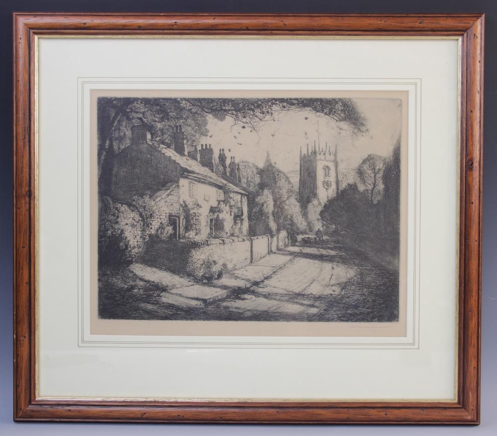 Arthur Henry Knighton Hammond (1875-1970), A farmer driving sheep down a village lane, Etching on - Image 2 of 3