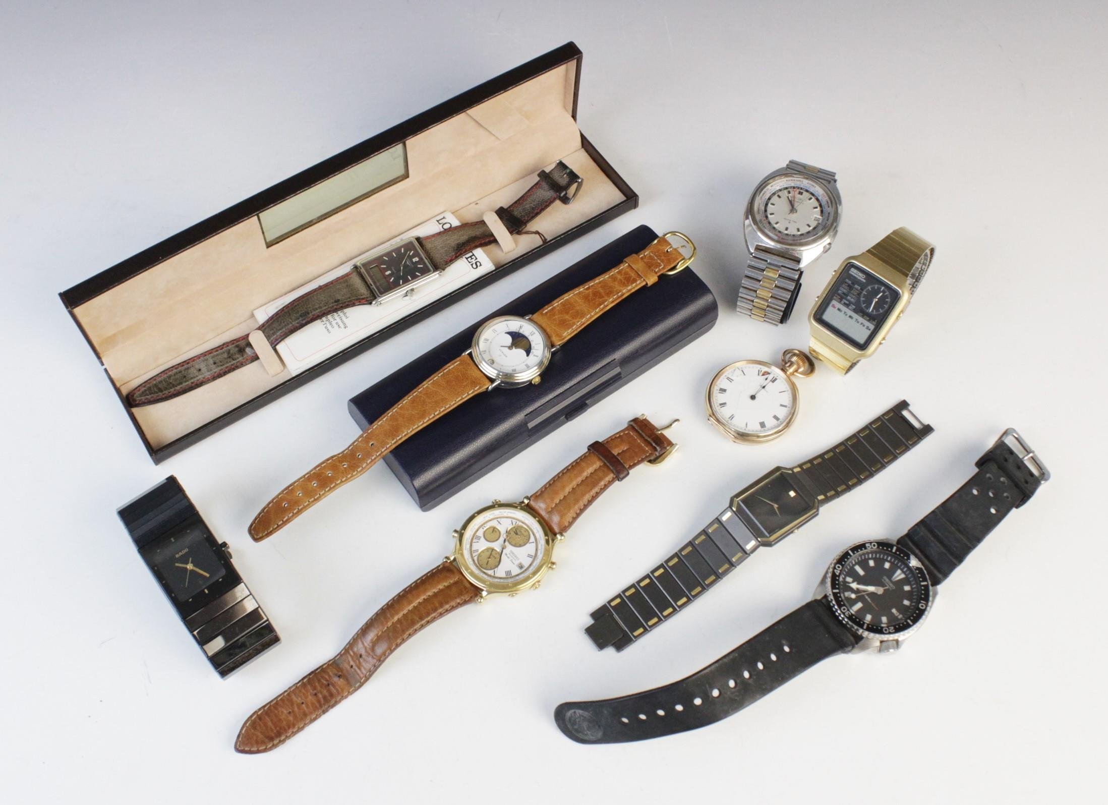 A large collection of vintage and modern dress watches, including a Longines Quartz T1 Timer, a - Image 7 of 11