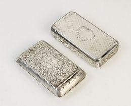 A Victorian silver snuff box by Edward Smith, Birmingham 1843, of rectangular form with scrolling