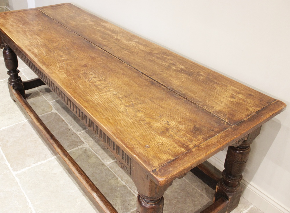 A 17th century and later oak refectory table, the rectangular twin plank cleated top above a - Image 3 of 3