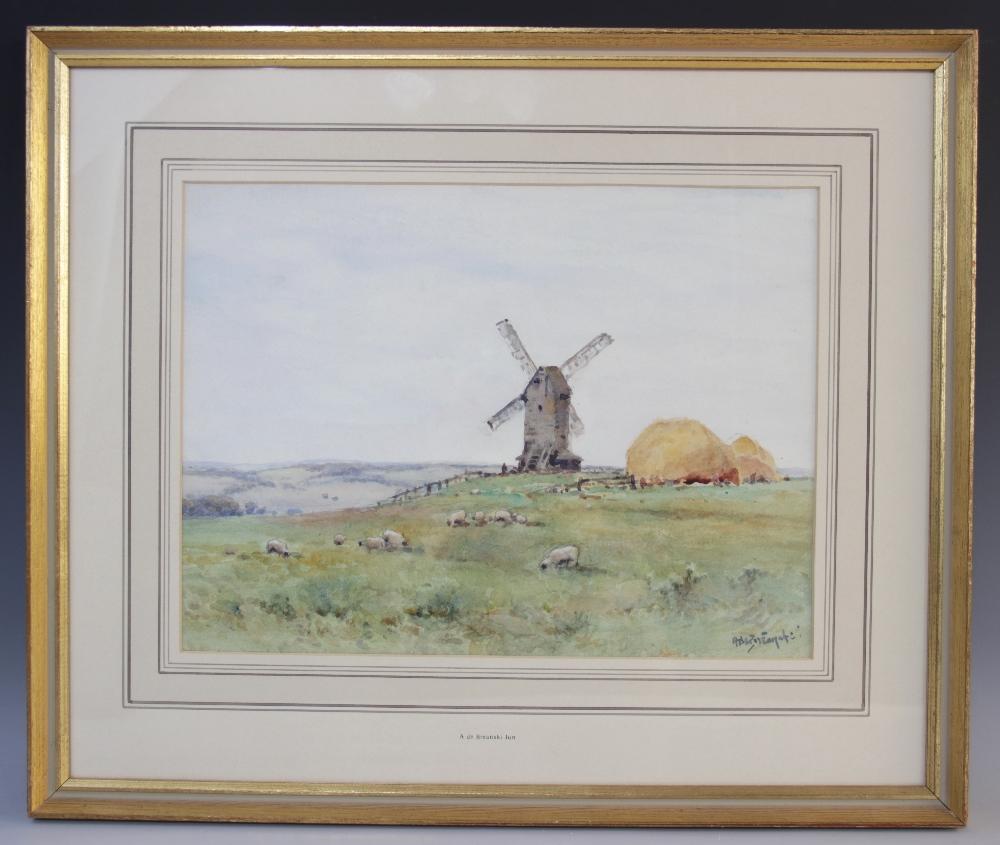 Alfred de Breanski Junior (British, 1877-1957), A bucolic scene with windmill, haystacks and - Image 2 of 4