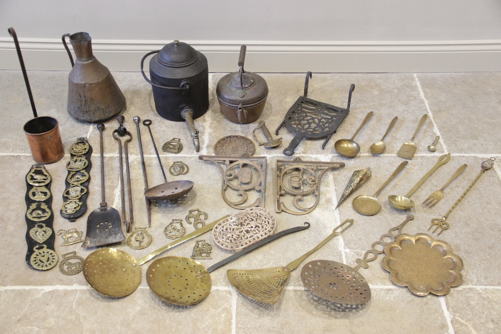 A selection of 19th century and later metal wares, to include a Victorian cast iron gypsy hanging