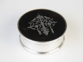 A George V silver and tortoiseshell jewellery box, marks for London 1918 (maker's marks worn), of