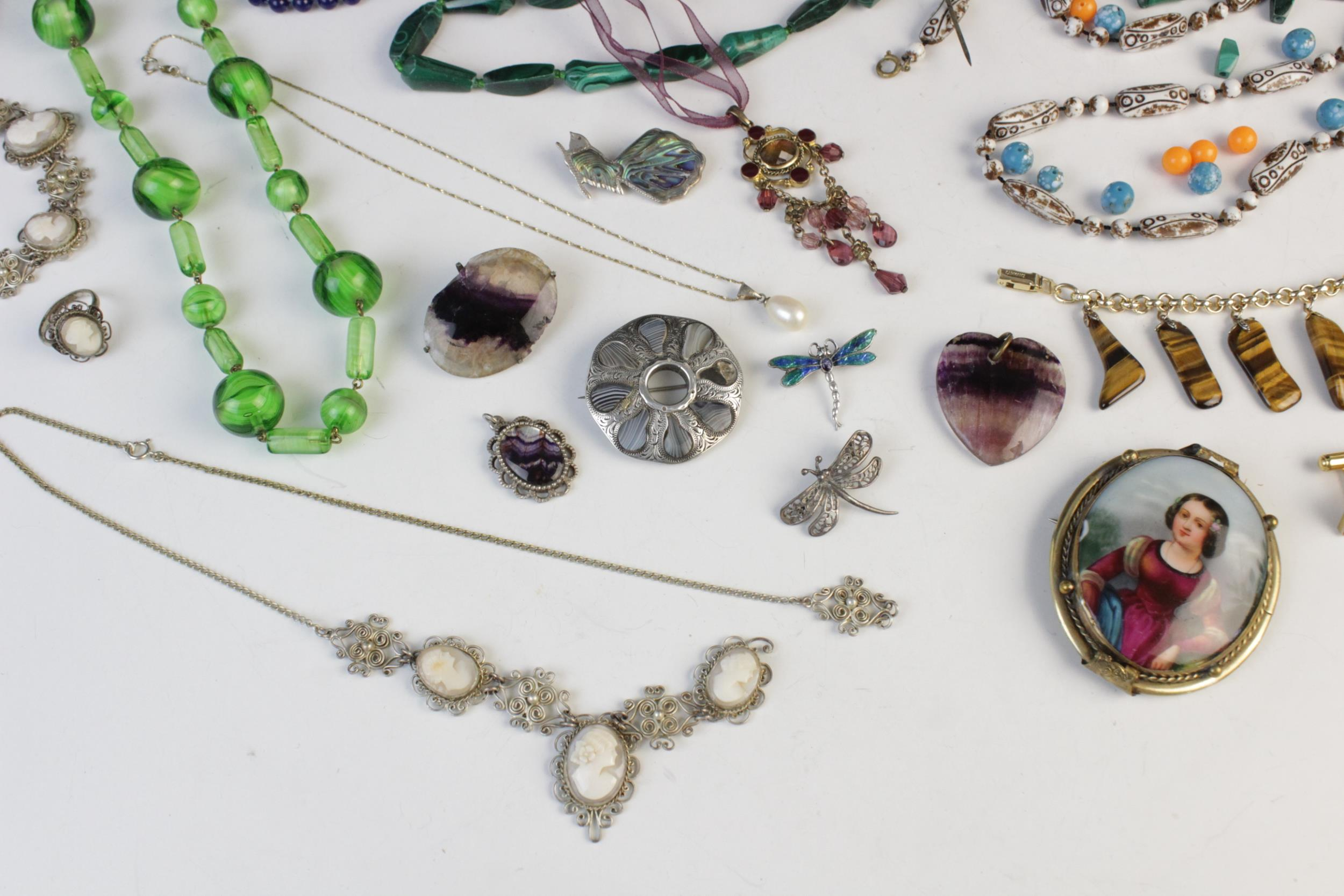 A selection of antique, vintage and costume jewellery, to include; a silver smokey quartz set Celtic - Image 2 of 4