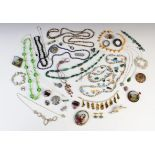 A selection of antique, vintage and costume jewellery, to include; a silver smokey quartz set Celtic