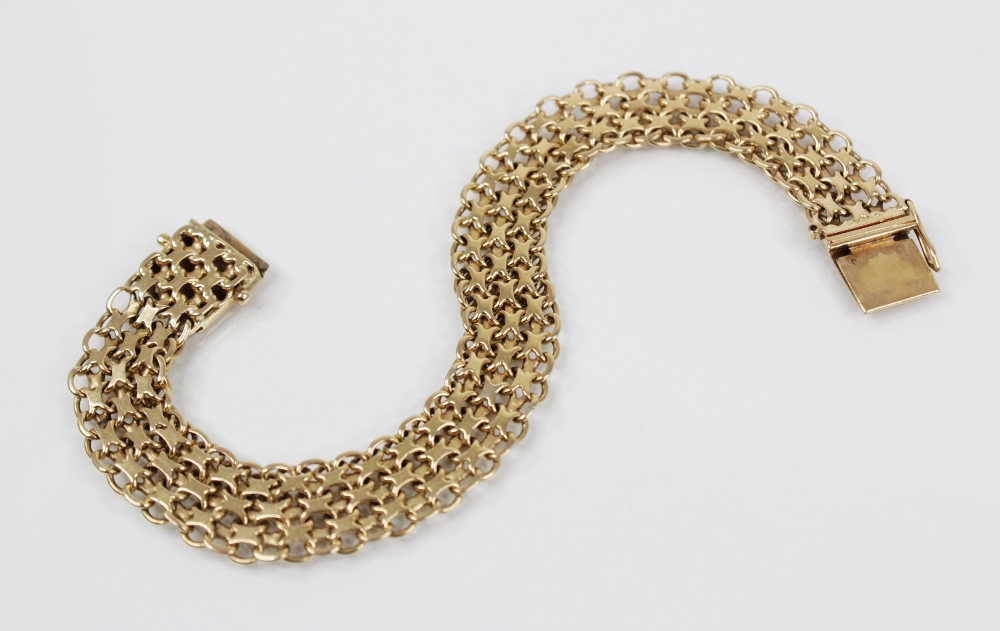 A gold coloured woven-link bracelet, with tongue and box snap clasp fastening, stamped '18K' and ' - Image 2 of 4