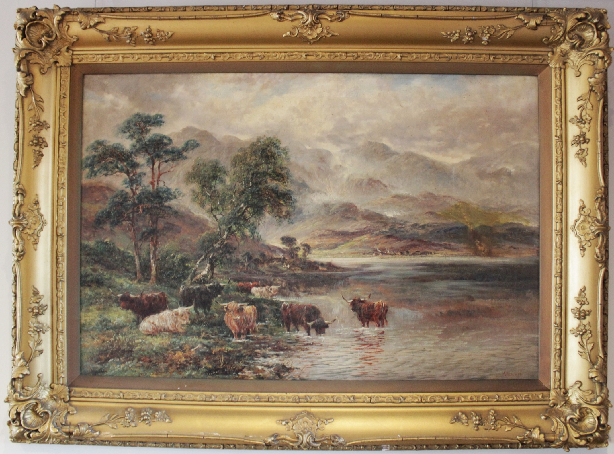 J. Lewis (English school, 19th century), Two mountainous landscapes with highland cattle, Oil on - Image 4 of 4