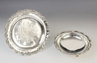 A Victorian silver card tray by George John Richards, London 1848, of circular form with cast rim
