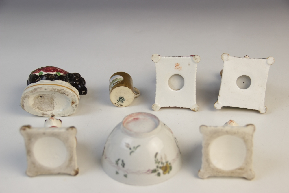 A selection of 19th century Staffordshire figures, to include a pair of seated cats, anchor marks to - Image 2 of 2