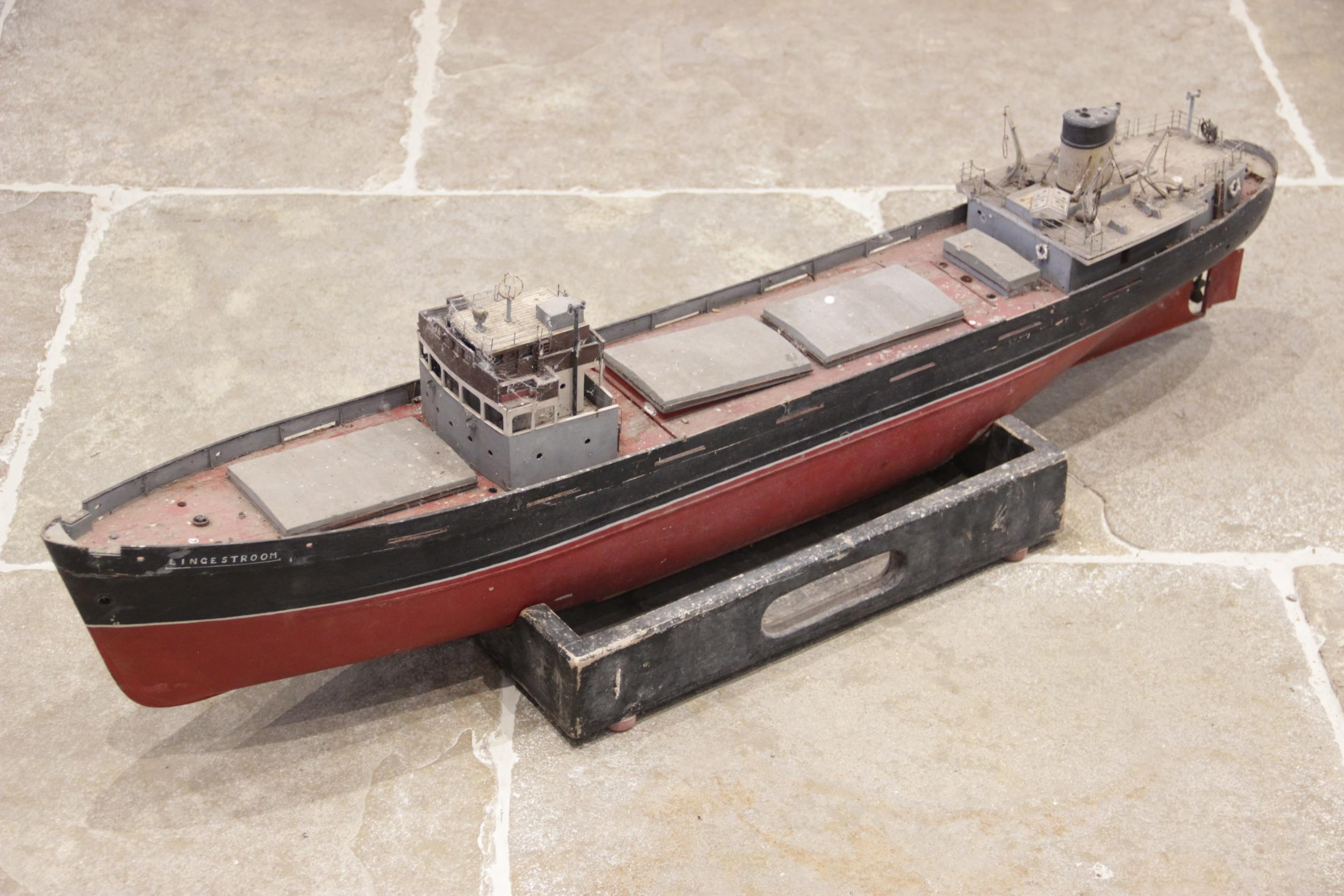 A mid 20th century scratch built model of the cargo ship 'Lingestroom', a scale recreation of an - Image 2 of 2