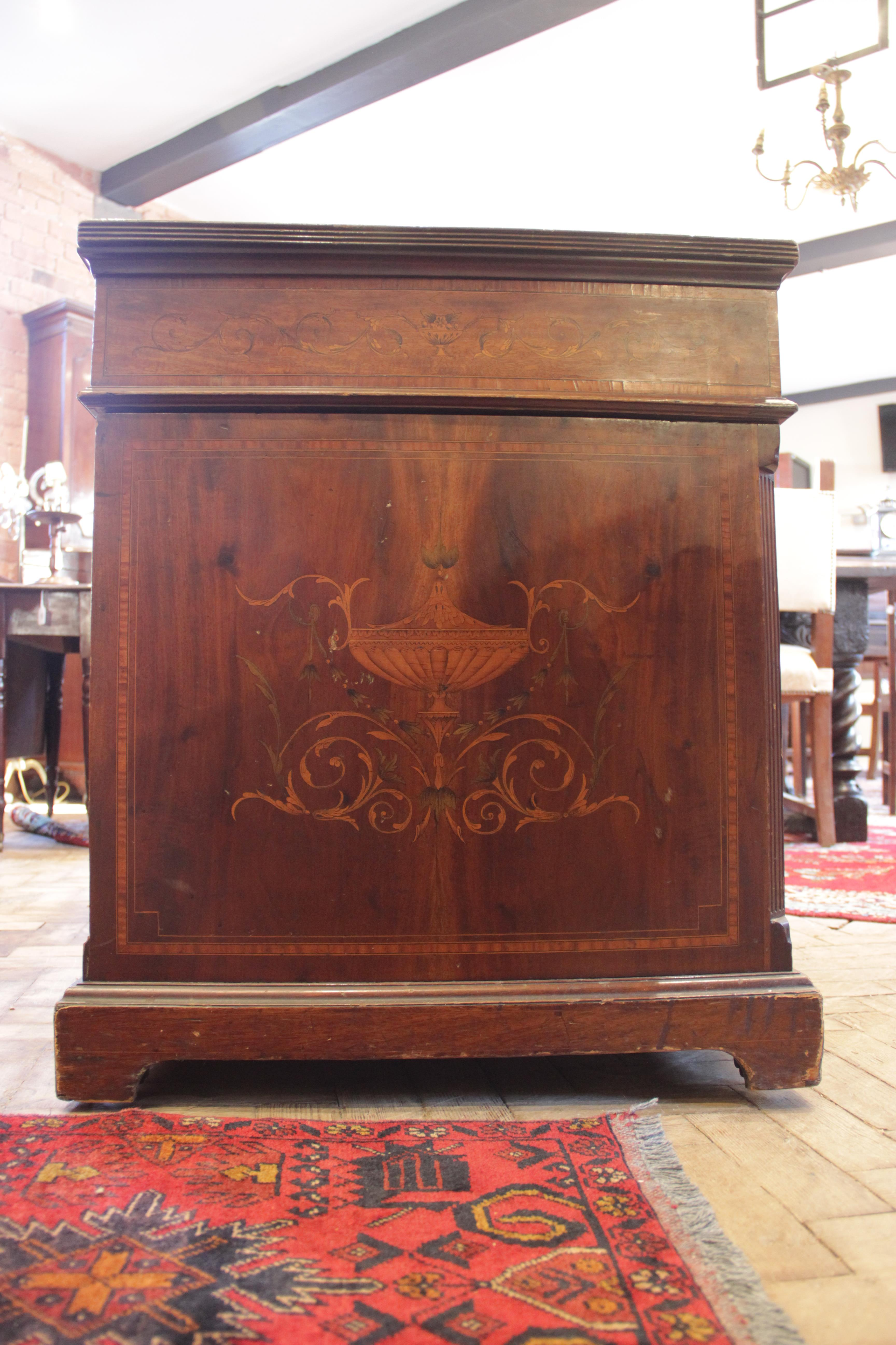 A late 19th century inlaid mahogany twin pedestal writing desk, the inverted breakfront top with a - Image 4 of 7