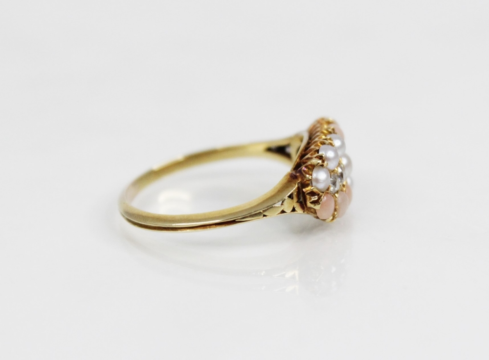A Victorian diamond, pearl and coral ring, the navette shaped head comprising four old cut - Image 5 of 6
