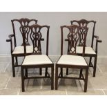 A set of eight mahogany Chippendale style dining chairs, early 20th century, each chair with an