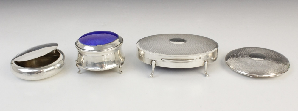 A silver compact by Clark & Sewell, Chester 1942, 7.7cm diameter, together with a silver and - Image 2 of 10