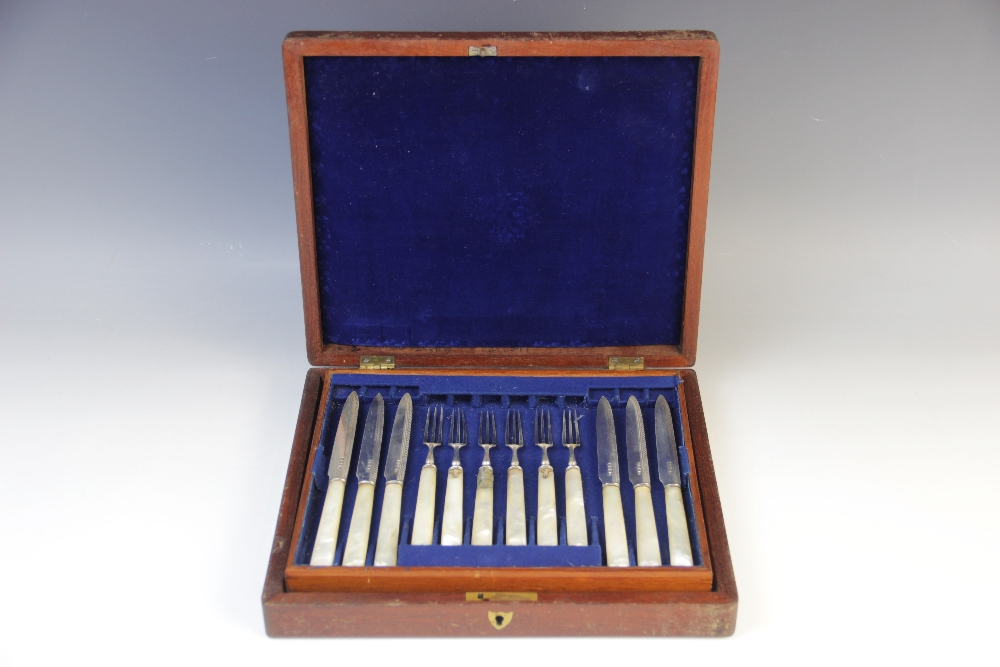 A Victorian part set of silver and mother of pearl fruit knives and forks, Allen & Darwin, Sheffield