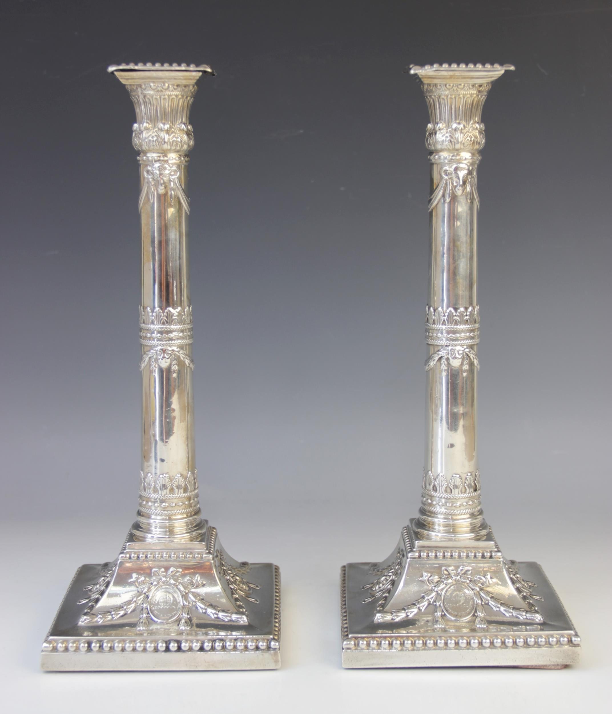 A pair of George III silver candlesticks, marked for Patrick Robertson, Edinburgh, Sheffield date