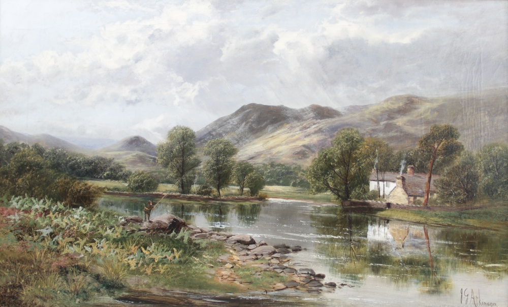 John Gunson Atkinson (active 1849-1885), A mountainous landscape with cottage and fly fisherman by a
