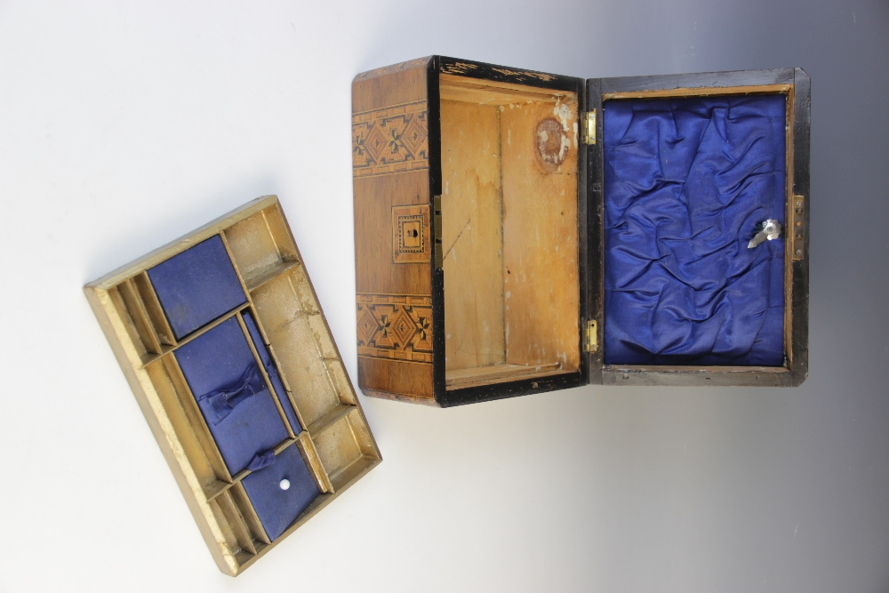A Victorian walnut and parquetry banded sewing box, the hinged cover opening to a - Image 3 of 3