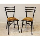 A pair of early 20th century German ebonised Arts and Crafts chairs by Michael Thonet, each chair