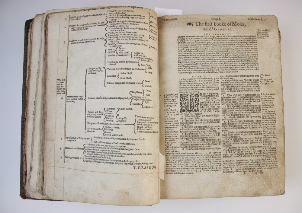 A 'breeches' Bible, early 17th century, full leather, the Old Testament lacking title page, the - Image 3 of 7