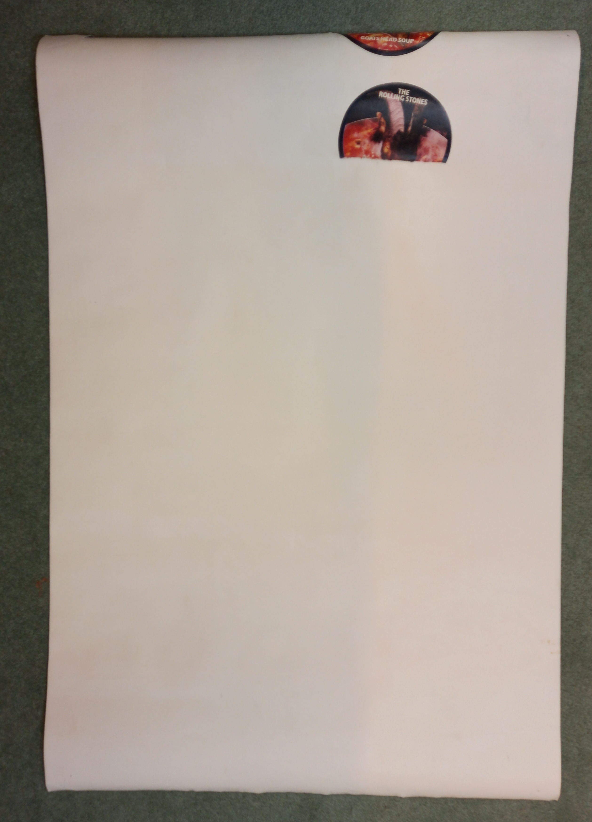 A ROLLING STONES 1971 tour poster designed by John Pasche, rolled as issued, previously secured by a - Image 2 of 3