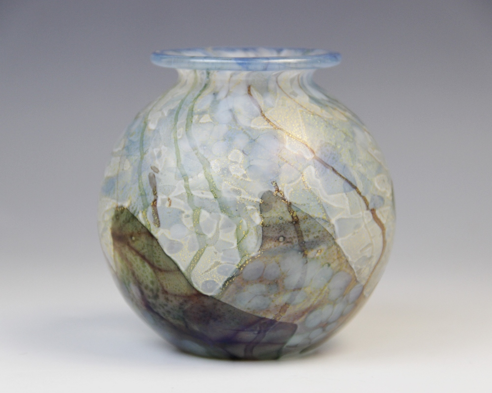 A John Ditchfield for Glassform style posy vase, 20th century, of spherical form with flared neck,