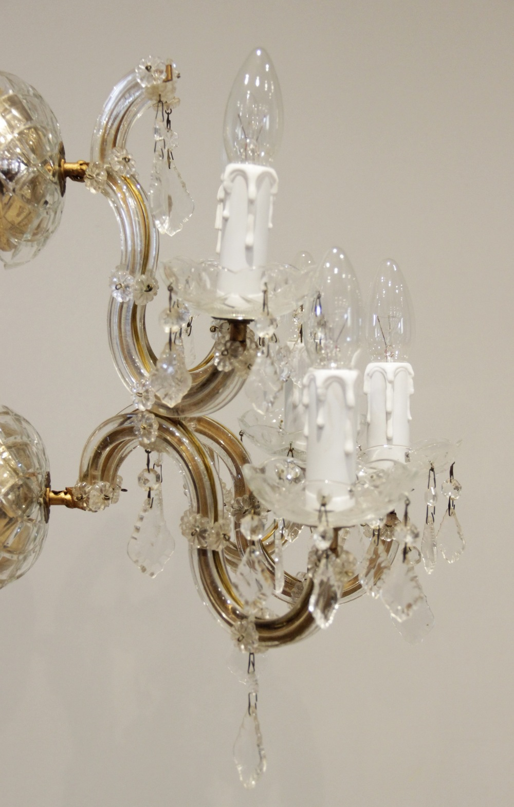 A French glass and gilt metal five branch wall light fitting, the twin dish shaped brackets - Image 3 of 3