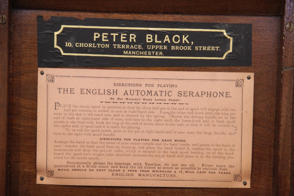 An English Automatic Seraphone, retailed by Peter Black of Manchester, in gilt stencilled mahogany - Image 3 of 6